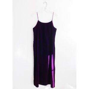Vintage Dark Purple Velvet Cami Slip Midi Dress M